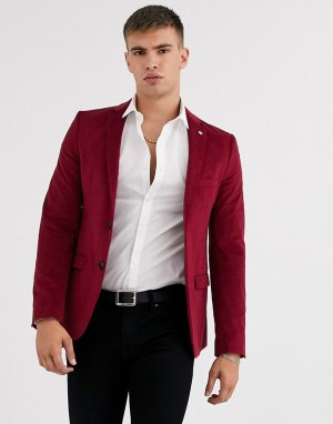 Бордовый облегающий бархатный пиджак Avail London-Красный London