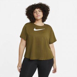 Женская беговая футболка с коротким рукавом Swoosh Run (большие размеры) - Зеленый Nike
