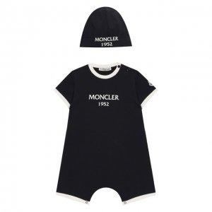 Комплект из хлопкового комбинезона и шапки Moncler Enfant. Цвет: синий