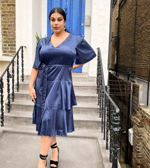 Темно-синее атласное платье миди -Темно-синий Little Mistress Plus