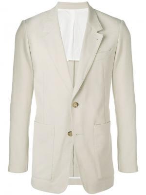 Удлиненный пиджак на двух пуговицах AMI Paris. Цвет: нейтральные цвета