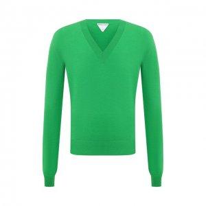 Шерстяной пуловер Bottega Veneta. Цвет: зелёный