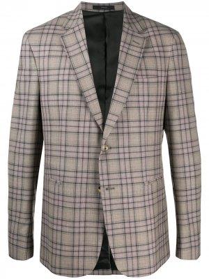 Однобортный пиджак в клетку Paul Smith. Цвет: нейтральные цвета