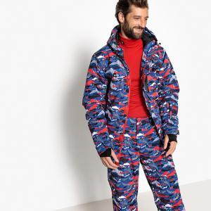 Куртка для сноубординга с рисунком, воротником-стойкой и капюшоном LA REDOUTE COLLECTIONS. Цвет: синий/наб. рисунок