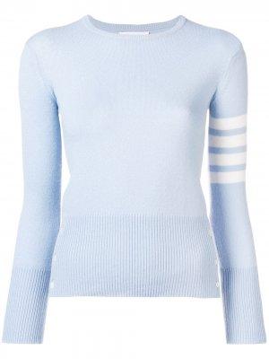 Кашемировый пуловер с 4 полосками на рукаве Thom Browne. Цвет: синий
