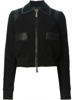 Куртка с кожаной окантовкой Just Cavalli. Цвет: чёрный