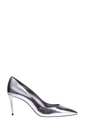Туфли-лодочки из металлизированной кожи наппа с зеркальным эффектом CASADEI. Цвет: серебристый