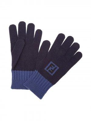 Contrast cuff gloves Fendi. Цвет: синий