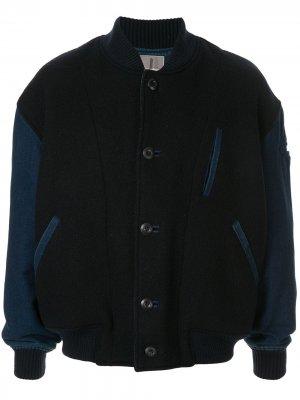 Бомбер 1980-х годов с контрастными рукавами Issey Miyake Pre-Owned. Цвет: синий