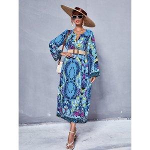 Платье-туника с цветочным принтом \без пояса SHEIN. Цвет: многоцветный