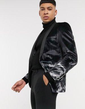 Черный бархатный пиджак с дымчатым принтом Twisted Tailor