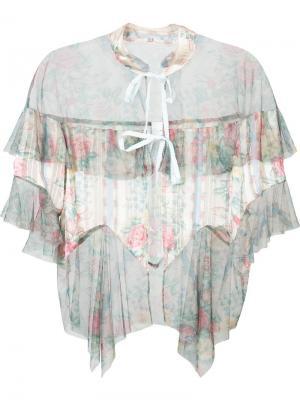Прозрачная блузка из тюля Anna Sui. Цвет: бежевый