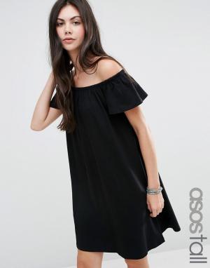 Платье мини с открытыми плечами ASOS TALL. Цвет: черный