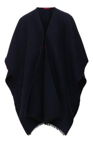 Пончо из смеси шерсти и шелка Valentino. Цвет: синий