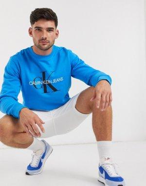 Свитшот с монограммным принтом -Синий Calvin Klein Jeans