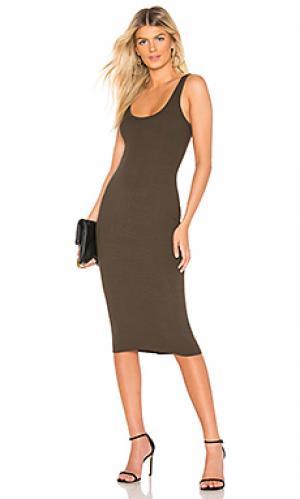 Платье rib tank Enza Costa. Цвет: оливковый