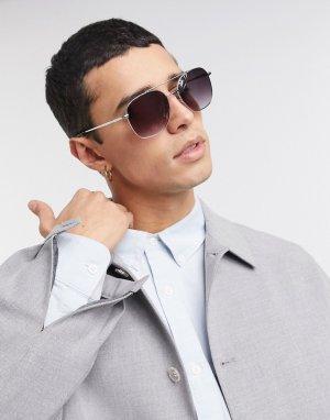 Квадратные солнцезащитные очки -Серебряный Selected Homme