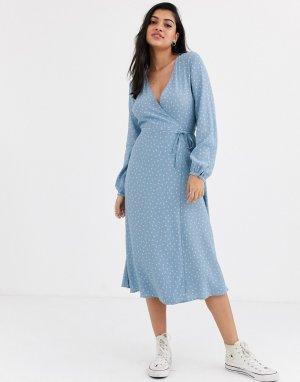Синее платье миди в горошек с длинными рукавами и запахом -Синий New Look
