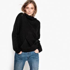 Пуловер-водолазка из тонкого трикотажа PEPE JEANS. Цвет: черный
