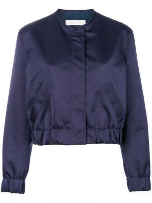 Атласная куртка-бомбер MSGM. Цвет: синий