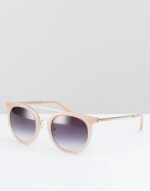 Розовые круглые солнцезащитные очки с двойной планкой Michael Kors. Цвет: розовый