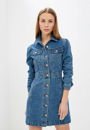 Платье джинсовое LOST INK DENIM BUTTON FRONT MINI BODYCON. Цвет: синий