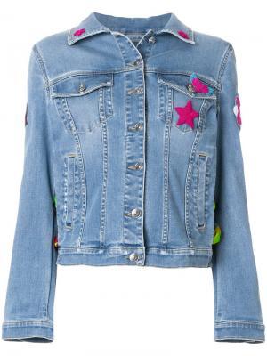 Джинсовая куртка с вышитой звездой Ermanno Scervino. Цвет: синий