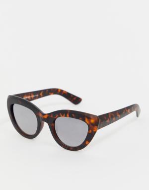 Черепаховые солнцезащитные очки кошачий глаз AJ Morgan. Цвет: коричневый