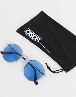 Круглые солнцезащитные очки с серебристой металлической оправой и голубыми линзами -Серебристый ASOS DESIGN