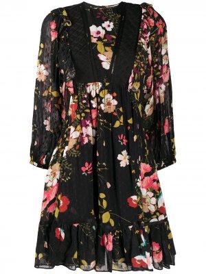 Платье с цветочным принтом byTiMo. Цвет: черный