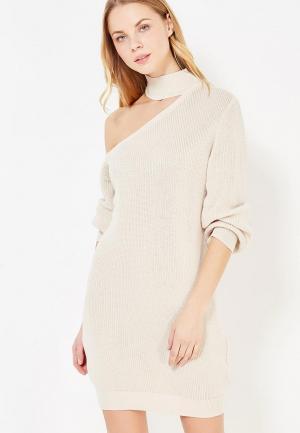 Платье Lost Ink DRESS WITH CUT OUT NECK. Цвет: бежевый