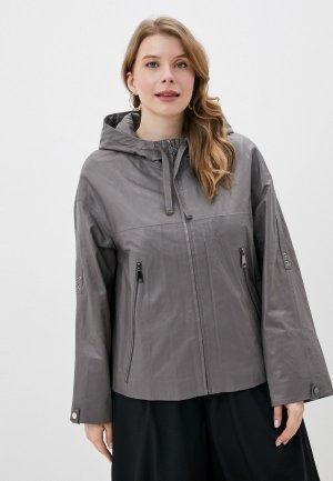 Куртка кожаная Снежная Королева К311/1FW18. Цвет: серый