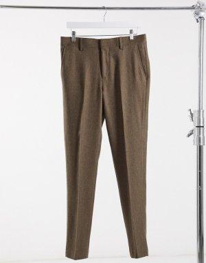 Бежевые брюки скинни с добавлением шерсти и узором в елочку Wedding-Бежевый ASOS DESIGN