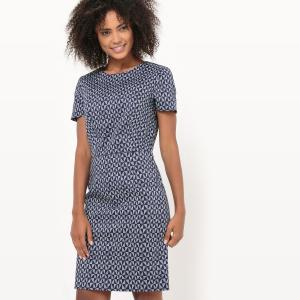 Платье офисное с рисунком La Redoute Collections. Цвет: рисунок/фон темно-синий