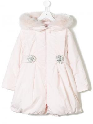 Дутое пальто с меховой оторочкой Bimbalo. Цвет: розовый