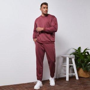 Мужской с заплатой Пуловер & Спортивные брюки SHEIN. Цвет: цвет красного дерева