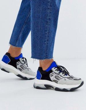 Замшевые кроссовки на массивной подошве -Мульти Bronx