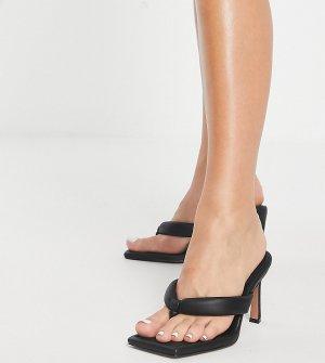 Черные сандалии на каблуке с перемычкой Wide Fit Haven-Черный ASOS DESIGN
