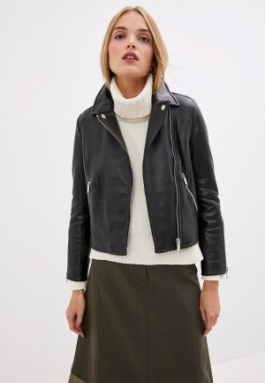Куртка кожаная Weekend Max Mara. Цвет: черный