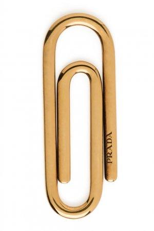 Золотистый зажим для купюр Prada. Цвет: multicolor