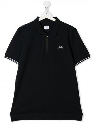 Рубашка поло с вышитым логотипом C.P. Company Kids. Цвет: синий