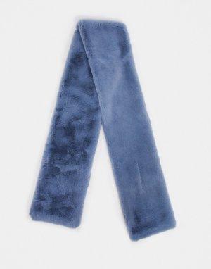Серый длинный шарф из искусственного меха Jayley