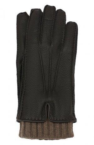 Кожаные перчатки Loro Piana. Цвет: темно-коричневый