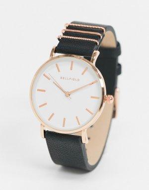 Часы цвета розового золота с черным браслетом -Черный цвет Bellfield