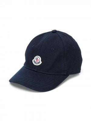 Парусиновая бейсболка с нашивкой-логотипом Moncler Enfant. Цвет: синий