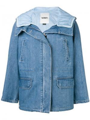 Джинсовая куртка с дутой подкладкой Yves Salomon. Цвет: синий