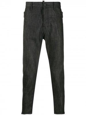 Зауженные джинсы с карманами на молнии Dsquared2. Цвет: черный