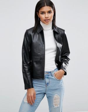 Кожаная куртка в минималистском стиле ASOS. Цвет: черный