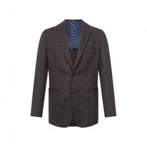 Пиджак из кашемира и шерсти Zilli. Цвет: коричневый