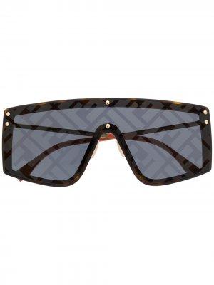 Солнцезащитные очки с монограммой Fendi Eyewear. Цвет: коричневый